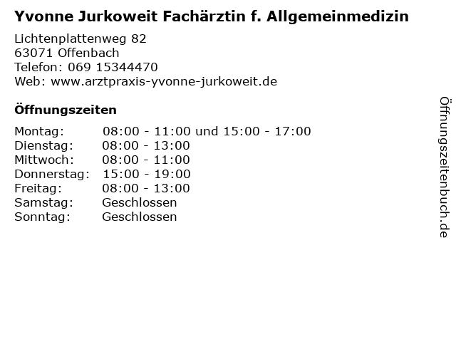 Yvonne Jurkoweit Fachärztin f. Allgemeinmedizin in Offenbach: Adresse und Öffnungszeiten