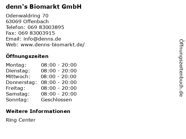 denn's Biomarkt GmbH in Offenbach: Adresse und Öffnungszeiten