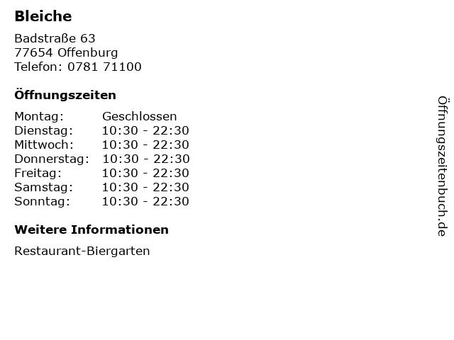 Bleiche in Offenburg: Adresse und Öffnungszeiten