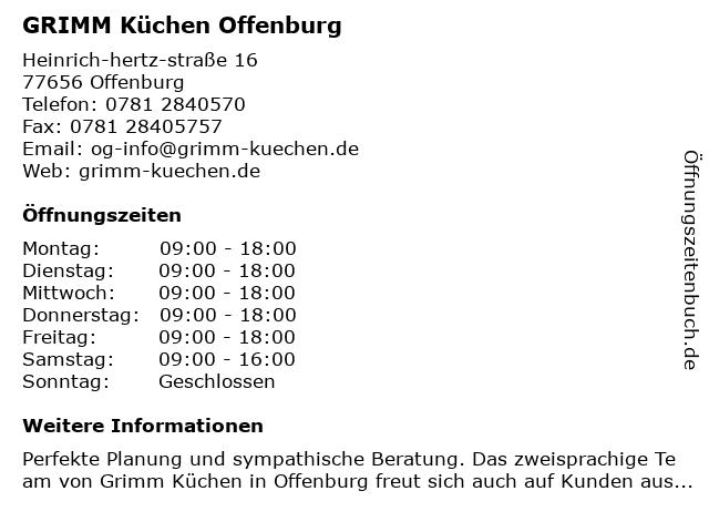 ᐅ Offnungszeiten Grimm Kuchen Offenburg Heinrich Hertz Strasse