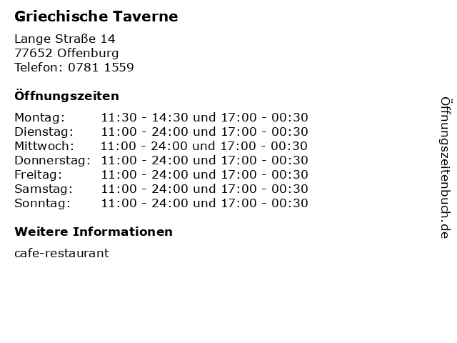 Griechische Taverne in Offenburg: Adresse und Öffnungszeiten