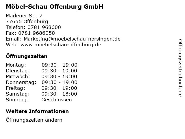 ᐅ öffnungszeiten Möbel Schau Offenburg Gmbh Marlener Str 7 In