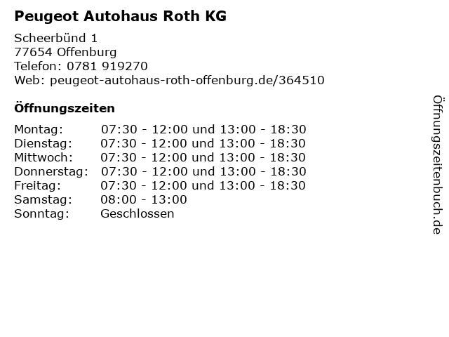 """ᐅ Öffnungszeiten """"autohaus roth kg - verkauf""""   scheerbünd 1 in"""