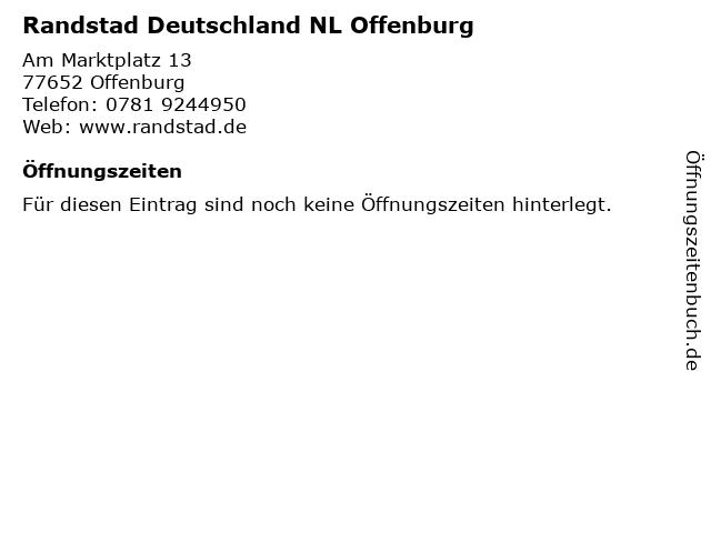 Randstad Deutschland NL Offenburg in Offenburg: Adresse und Öffnungszeiten