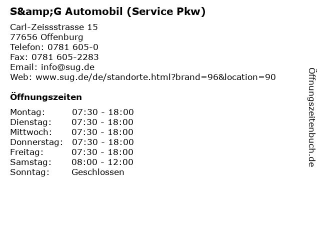 S&G Automobil (Service Pkw) in Offenburg: Adresse und Öffnungszeiten