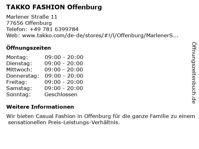 Takko Fashion in Offenburg: Adresse und Öffnungszeiten