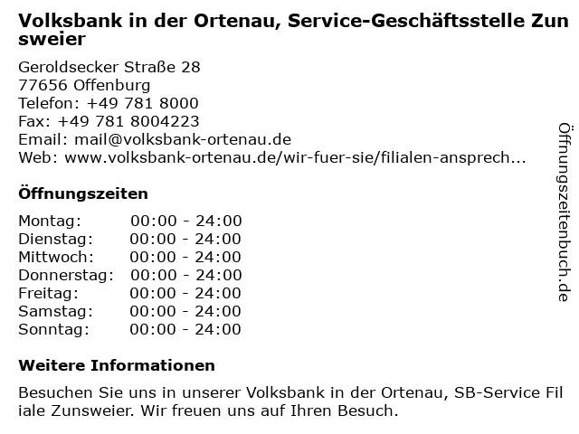 Volksbank in der Ortenau, Service-Geschäftsstelle Zunsweier in Offenburg: Adresse und Öffnungszeiten