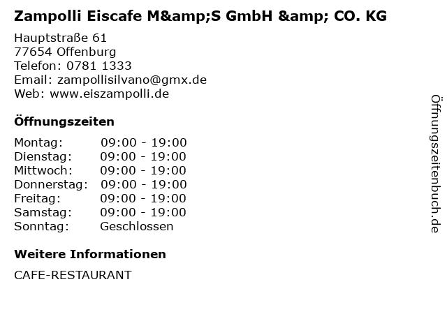 Zampolli Eiscafe M&S GmbH & CO. KG in Offenburg: Adresse und Öffnungszeiten