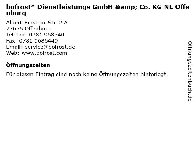 bofrost* Dienstleistungs GmbH & Co. KG NL Offenburg in Offenburg: Adresse und Öffnungszeiten