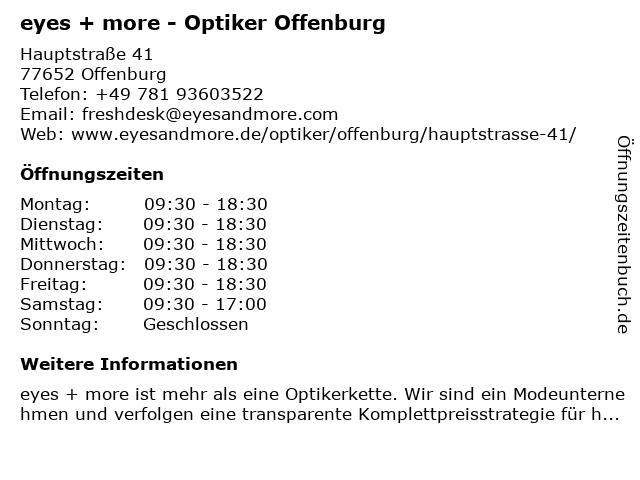 eyes + more Optikgeschäft in Offenburg: Adresse und Öffnungszeiten