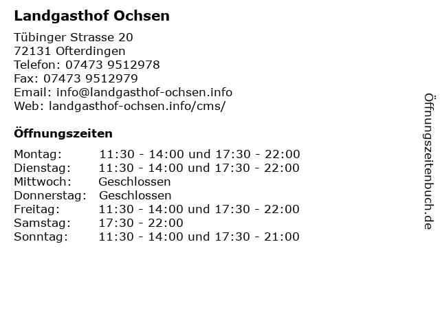 Landgasthof Ochsen in Ofterdingen: Adresse und Öffnungszeiten