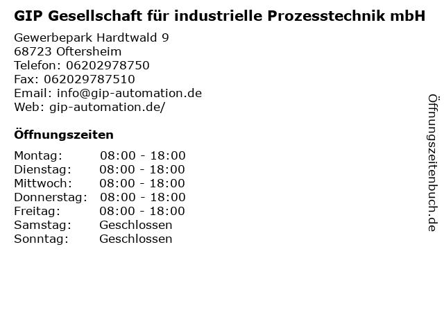 GIP Gesellschaft für industrielle Prozesstechnik mbH in Oftersheim: Adresse und Öffnungszeiten