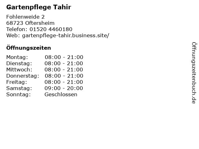 Gartenpflege Tahir in Oftersheim: Adresse und Öffnungszeiten