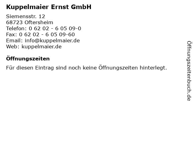 Kuppelmaier Ernst GmbH in Oftersheim: Adresse und Öffnungszeiten