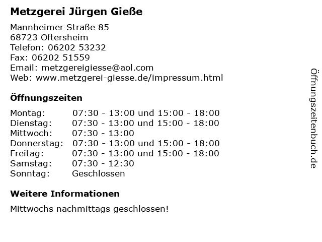 Metzgerei Jürgen Gieße in Oftersheim: Adresse und Öffnungszeiten