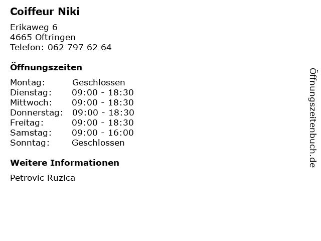 Coiffeur Niki in Oftringen: Adresse und Öffnungszeiten