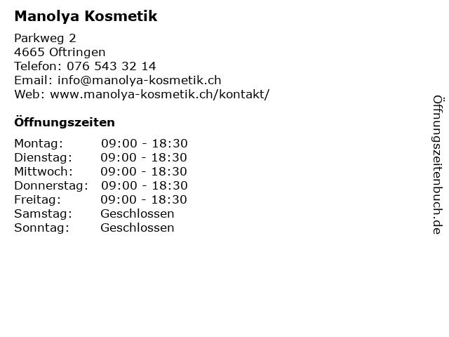 Manolya Kosmetik in Oftringen: Adresse und Öffnungszeiten