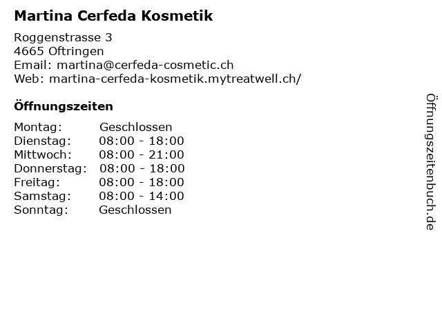 Martina Cerfeda Kosmetik in Oftringen: Adresse und Öffnungszeiten