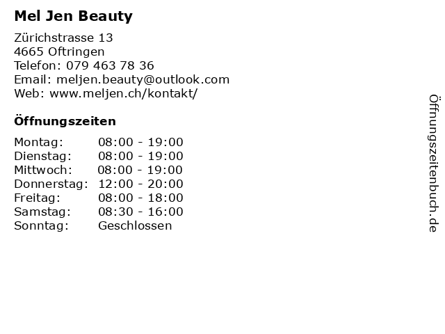 Mel Jen Beauty in Oftringen: Adresse und Öffnungszeiten