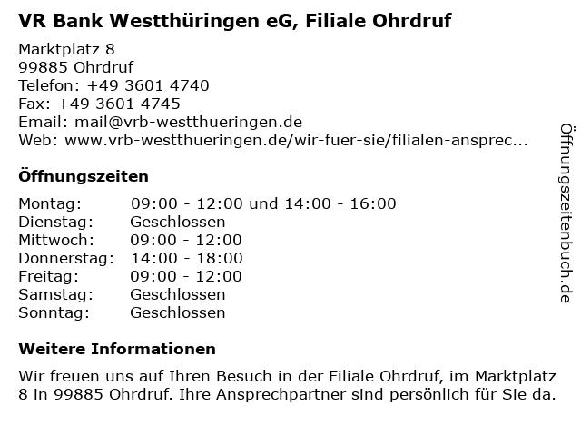 ᐅ öffnungszeiten Vr Bank Westthüringen Eg Filiale Ohrdruf