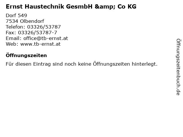 Ernst Haustechnik GesmbH & Co KG in Olbendorf: Adresse und Öffnungszeiten