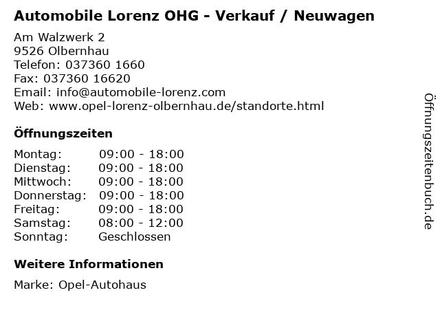 """ᐅ Öffnungszeiten """"automobile lorenz ohg - verkauf / neuwagen""""   am"""