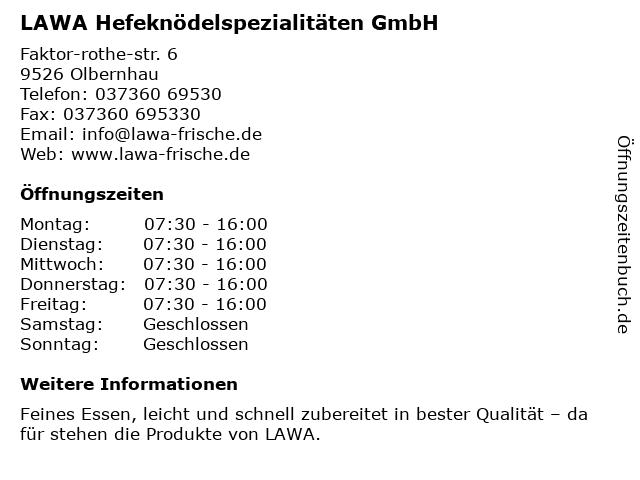 LAWA Hefeknödelspezialitäten GmbH in Olbernhau: Adresse und Öffnungszeiten