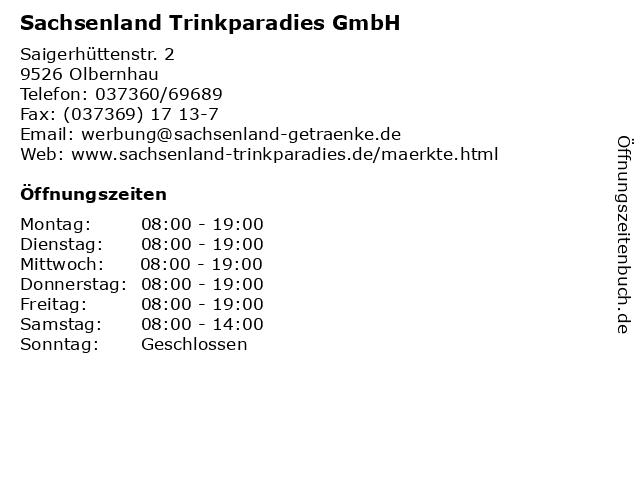Sachsenland Trinkparadies GmbH in Olbernhau: Adresse und Öffnungszeiten