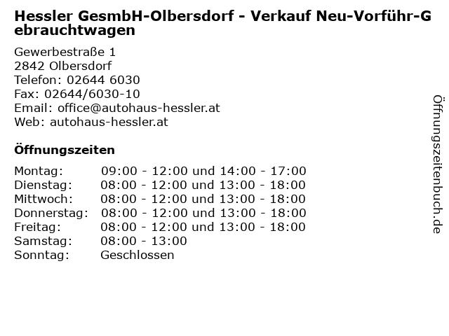 Hessler GesmbH-Olbersdorf - Verkauf Neu-Vorführ-Gebrauchtwagen in Olbersdorf: Adresse und Öffnungszeiten