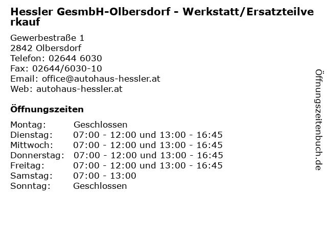 Hessler GesmbH-Olbersdorf - Werkstatt/Ersatzteilverkauf in Olbersdorf: Adresse und Öffnungszeiten
