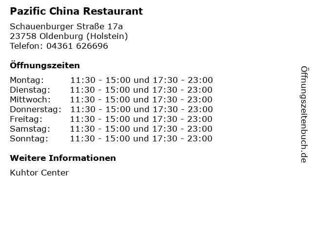 Pazific China Restaurant in Oldenburg (Holstein): Adresse und Öffnungszeiten