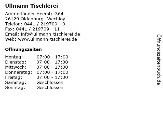 Ullmann Holzwerkstätten in Oldenburg -Wechloy: Adresse und Öffnungszeiten
