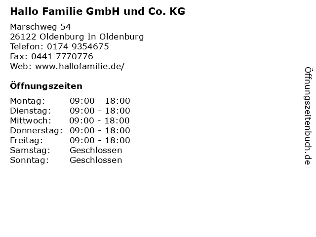 Hallo Familie GmbH und Co. KG in Oldenburg In Oldenburg: Adresse und Öffnungszeiten