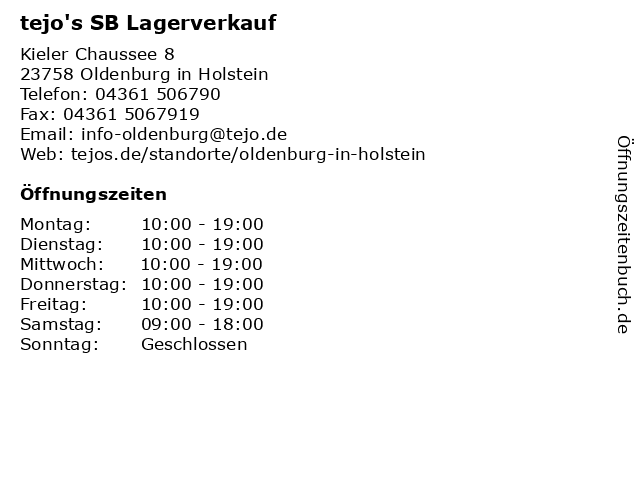 ᐅ öffnungszeiten Tejos Sb Lagerverkauf Kieler Chaussee 8 In