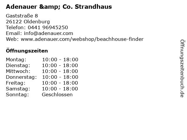 Adenauer & Co. Strandhaus in Oldenburg: Adresse und Öffnungszeiten