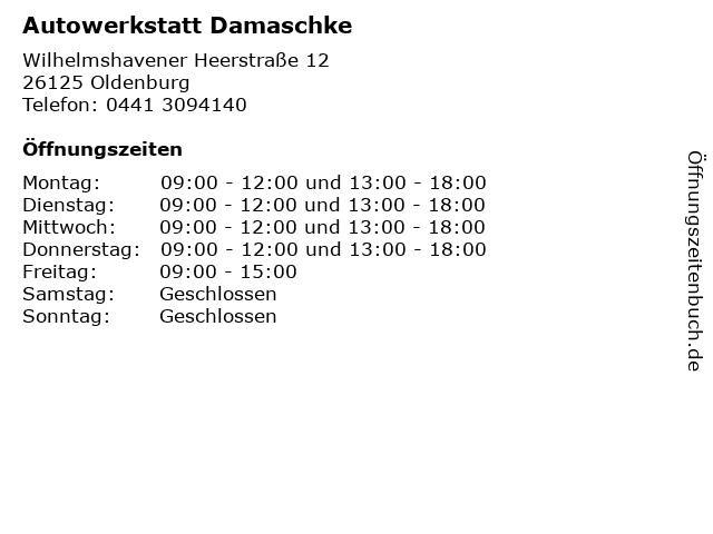 Autowerkstatt Damaschke in Oldenburg: Adresse und Öffnungszeiten