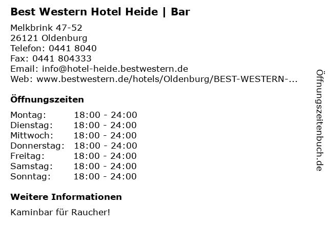 Best Western Hotel Heide   Bar in Oldenburg: Adresse und Öffnungszeiten