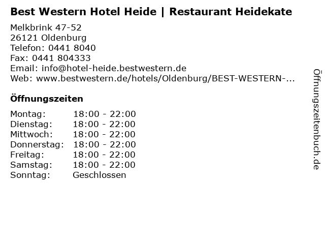 Best Western Hotel Heide | Restaurant Heidekate in Oldenburg: Adresse und Öffnungszeiten
