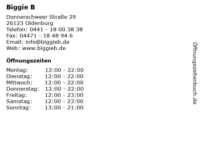Biggie B in Oldenburg: Adresse und Öffnungszeiten