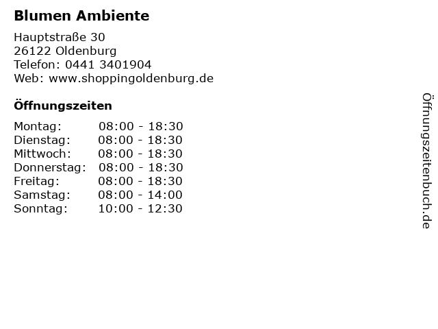 Blumen Ambiente in Oldenburg: Adresse und Öffnungszeiten