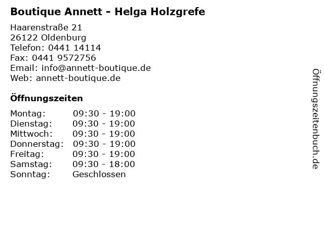 Boutique Annett - Helga Holzgrefe in Oldenburg: Adresse und Öffnungszeiten