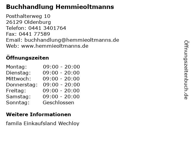 Buchhandlung Hemmieoltmanns in Oldenburg: Adresse und Öffnungszeiten