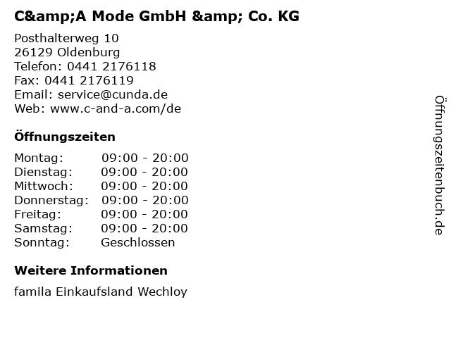 C&A Mode GmbH & Co. KG in Oldenburg: Adresse und Öffnungszeiten