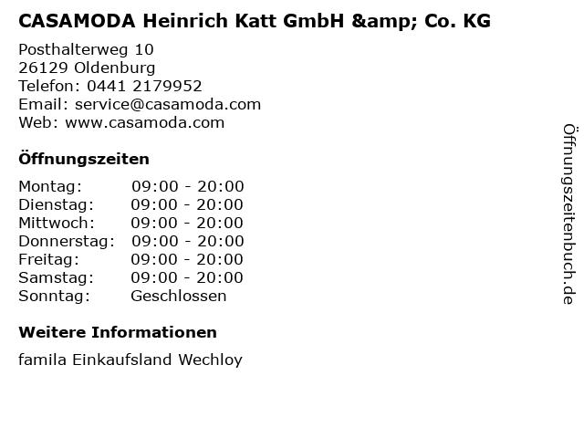 CASAMODA Heinrich Katt GmbH & Co. KG in Oldenburg: Adresse und Öffnungszeiten