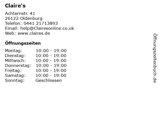 Claire's in Oldenburg: Adresse und Öffnungszeiten