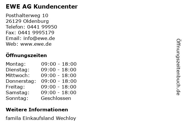 EWE AG Kundencenter in Oldenburg: Adresse und Öffnungszeiten