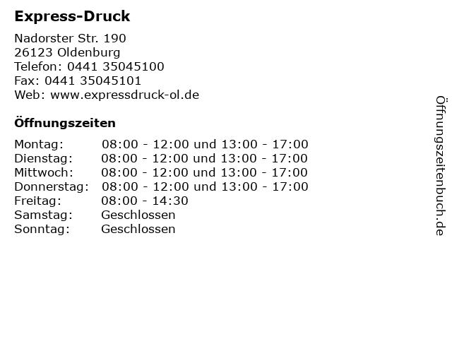 ᐅ öffnungszeiten Express Druck Nadorster Str 190 In
