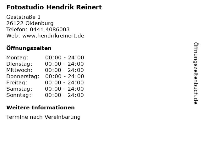 Fotostudio Hendrik Reinert in Oldenburg: Adresse und Öffnungszeiten