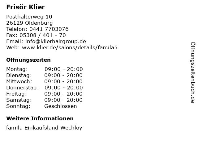 Frisör Klier GmbH in Oldenburg: Adresse und Öffnungszeiten