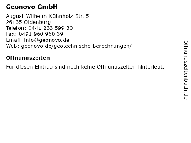 Geonovo GmbH in Oldenburg: Adresse und Öffnungszeiten